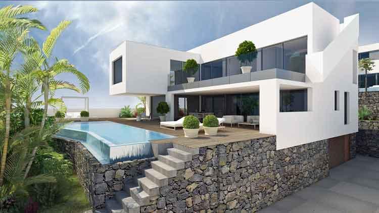 moderne villen mit drei schlafzimmern in exponierter lage an der k ste von tacoronte in. Black Bedroom Furniture Sets. Home Design Ideas